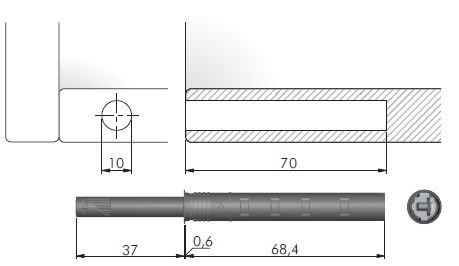 IF K-Push dlhý s magnetom k zavŕtaniu sivý