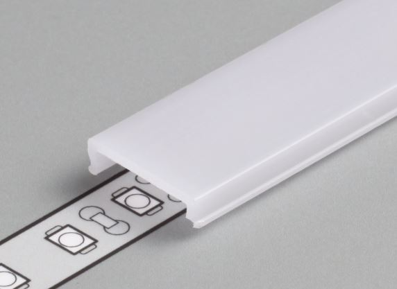 TM-Krycia lišta k LED profilom naklapávacia mliečna.4000mm