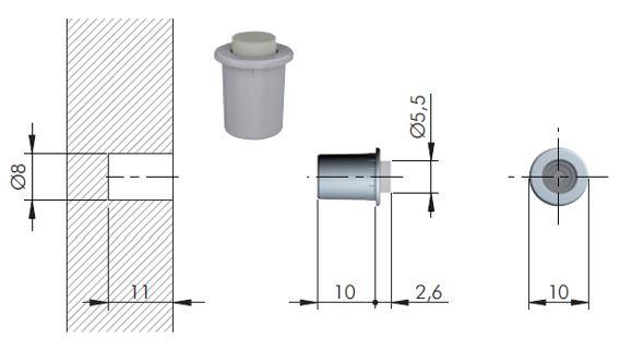 IF-Tlmič dvierok zavrt.Flex 8mm(10×2,6mm)