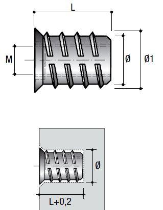 Matica závrtná s límcom BU04 – M6x20mm