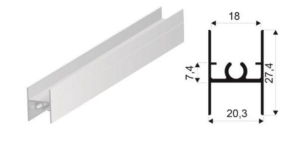 SEVROLL spojovacia lišta Simple / Blue H28 3m (18mm) strieborná