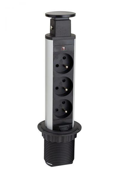 STRONG Elektrická zásuvka vytahovací, 3x230V, černá