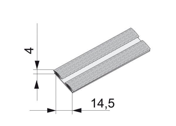 SEVROLL dorazový kartáč zásuvný 14x4mm k úchyt.lište Era