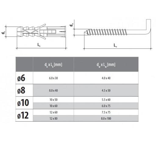 Blister BP12/8×100/ hmoždinka s rovným hákom